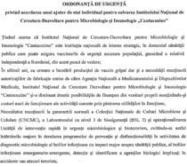 Proiect de OUG privind acordarea unui ajutor de stat pentru salvarea Institutului Cantacuzino