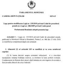 Fragment din Proiectul de lege pentru modificarea Codului de procedura penala si a Codului penal