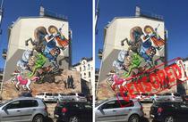 Pictura murala Sf. Gheorghe si Dragonul Jucaus