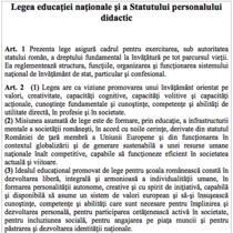 Fragment din proiectul noii legi a educatiei