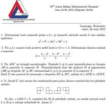 Fragment din Subiectele de la Balcaniada de Matematica Juniori 2015