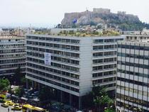 Banner cu NU pe Ministerul Finantelor din Grecia