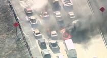 Incendiul de vegetatie s-a extins pe autostrada