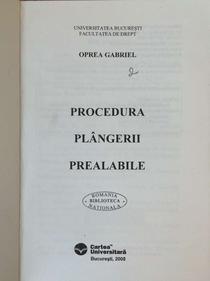 Foto carte Procedura plangerii prealabile 1