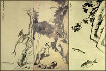 """Lucrari de Zhu Da: """"Pasare Mynah pe un copac batran"""", """"Lotus si pasari"""", """"Piatra si doi pesti"""""""
