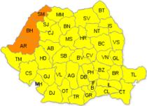 Cod portocaliu de canicula in Arad, Bihor si Satu Mare