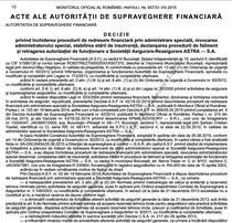 Deschiderea procedurii de faliment a Astra, publicata in Monitorul Oficial
