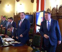 Victor Ponta si Klaus Iohannis la sedinta CSAT
