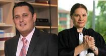 Gheoghe Piperea (avocatul grupului de clienti) si Ana Diculescu Sova (avocatul institutiei de credit)