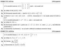 Fragment din modelele de subiecte pentru BAC - Matematica