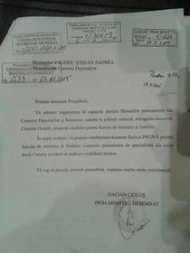Scrisoarea lui Ciolos cu propunerea Ralucai Pruna
