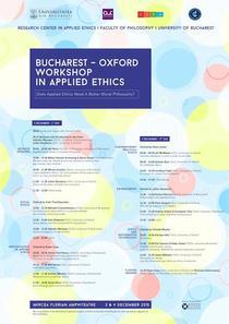 Bucharest-Oxford workshop in applied ethics