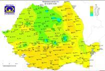 Harta temperaturilor pe 22 decembrie la ora 14