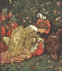 """""""Frumoasa si bestia"""", ilustratie de Walter Crane 1874"""