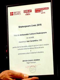 Titlul de Ambasador Cultural Shakespeare