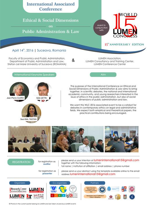 4 Eveniment asociat WLC2016 Conferinta Internationala Ethical & Social Dimensions on Public Administration & Law 14 aprilie 2016