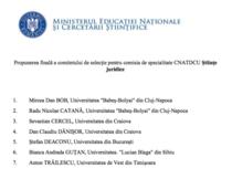 Propunerile pentru Comisia de Stiinte Juridice a CNATDCU