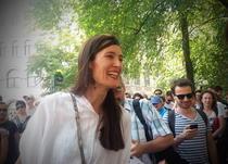 Clotilde Armand, la manifestatia din Piata Universitatii