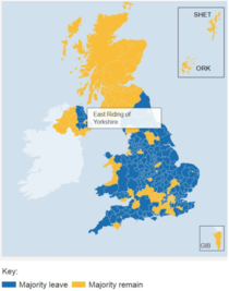 Harta - Cum s-a votat in circumscriptiile britanice la referendum