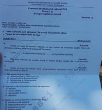 BAC 2016 Subiecte Biologie