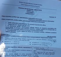BAC 2016 Subiecte Informatica limbajul CC++