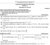 BAC 2016 toamna- Subiecte Matematica