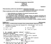 BAC 2016 toamna- Subiecte informatica