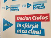Slogan USR de sustinere a lui Ciolos