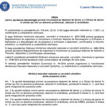 Proiect: Ordin metodologie recunoasterea titlului de doctor