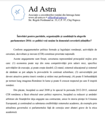 Fragment din lista de intrebari formulate de Ad Astra