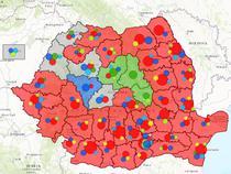 Harta Romaniei Politice - dupa distribuirea mandatelor parlamentare