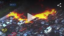 Incendiu la un cimitir de masini