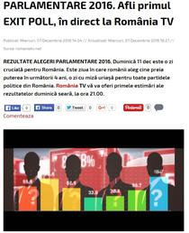 Anuntul Romania TV privind exit poll-ul