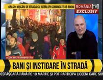 Burtiera RTV de la proteste: bani si instigare in strada
