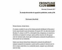 Scrisoare deschisa Frontline Club