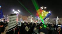 Lasere in Piata Victoriei