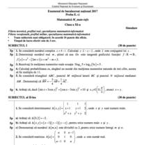 Simulare BAC 2017 - Subiect matematica - mate-info, cls a XI-a