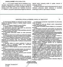 Ordin publicat in Monitorul Oficial