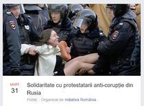 Manifestatie de solidaritate cu protestatarii din Rusia