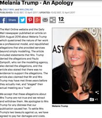Daily Mail isi cere scuze pentru a sugerat ca MElania Trump a fost escorta