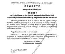 Catalin Marinescu, eliberat din functie