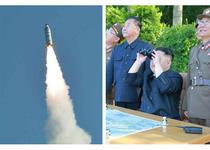 Kim Jong Un la un test cu racheta