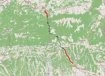 Loturile de capat ale autostrazii A1 Pitesti - Sibiu (cu rosu)