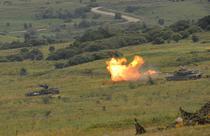 Tanc american M1A2 Abrams trage in poligonul Cincu