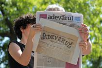 Schita Adevarul in format mare, cu primul numar al ziarului