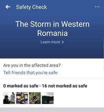 Furtuna din Vestul Romaniei, pe Facebook Safety Check