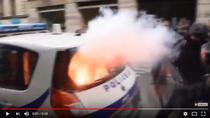 Masina de politie incendiata