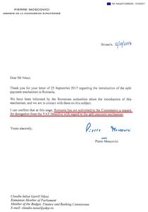 Moscovici anunta ca nu s-a cerut derogare pe TVA Split