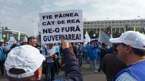 Protest sindical in fata Guvernului
