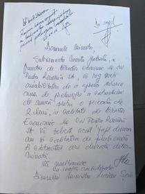 Cerere apostilata de Ministrul Sova
